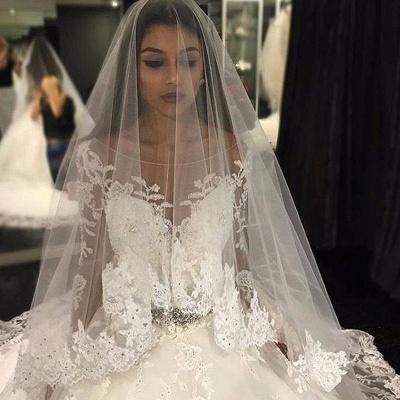 Forme Marquise Traîne mi-longue Col U profond Tulle Robes de mariée 2021 avec Appliques_2
