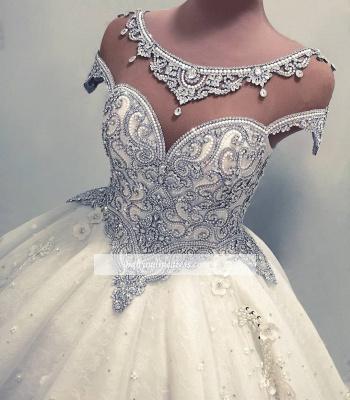 Robe de mariée princesse luxueuse avec cristaux | Robe de mariage princesse longue élégante_4