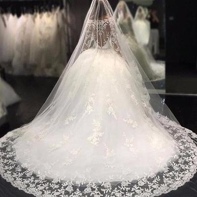 Forme Marquise Traîne mi-longue Col U profond Tulle Robes de mariée 2021 avec Appliques_4