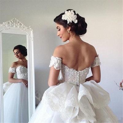 Forme Marquise Traîne moyenne Epaules nues Tulle Robes de mariée avec Ruches_5