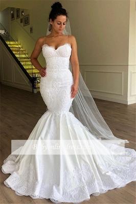 Robe de mariée sirène bretelles fines | Robe de mariage trompette avec dentelles_1