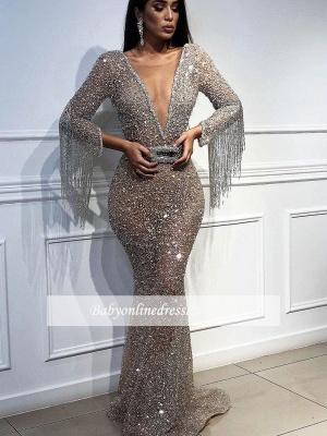 Robe de soirée sirène pailletée col en V   Robe de cérémonie trompette sexy avec cristal_5
