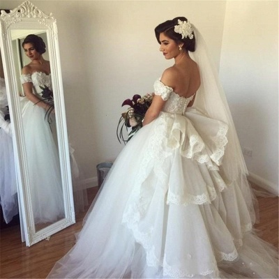 Forme Marquise Traîne moyenne Epaules nues Tulle Robes de mariée avec Ruches_3