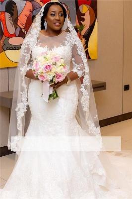 Robe de mariée sirène manches longues | Robe de mariage trompette grandes tailles_5