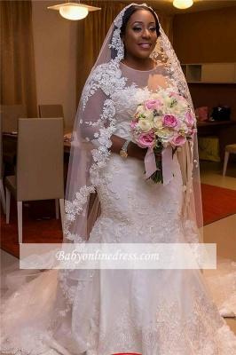 Robe de mariée sirène manches longues | Robe de mariage trompette grandes tailles_1