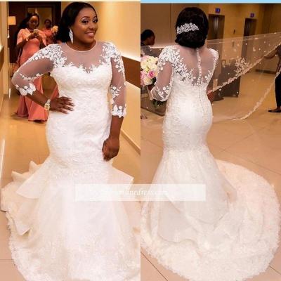 Robe de mariée sirène manches longues | Robe de mariage trompette grandes tailles_4