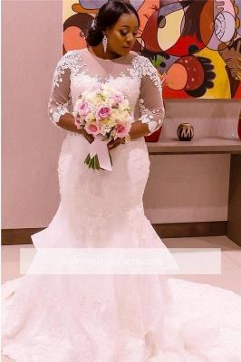 Robe de mariée sirène manches longues | Robe de mariage trompette grandes tailles_3