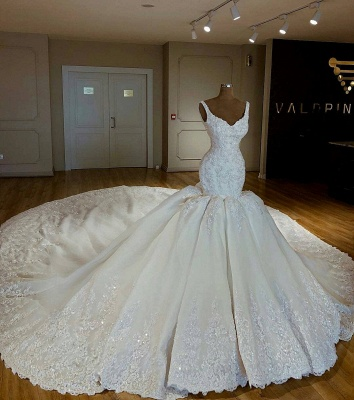 Robe de mariée sirène luxueuse traîne longue avec appliques | Robe de mariage trompette longue élégante_3