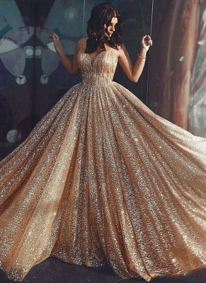 Robe de bal princesse pailletée brillante | Robe de soirée princesse sans bretelles_3