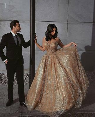 Robe de bal princesse pailletée brillante | Robe de soirée princesse sans bretelles_2