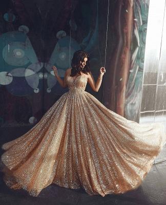 Robe de bal princesse pailletée brillante | Robe de soirée princesse sans bretelles_4