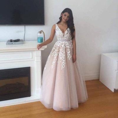 Forme Princesse Longueur ras du sol Col en V Tulle Robes de bal 2021 avec Dentelle_4