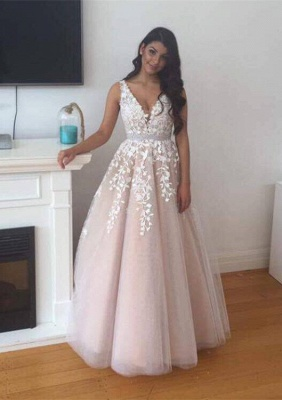 Forme Princesse Longueur ras du sol Col en V Tulle Robes de bal 2021 avec Dentelle_3