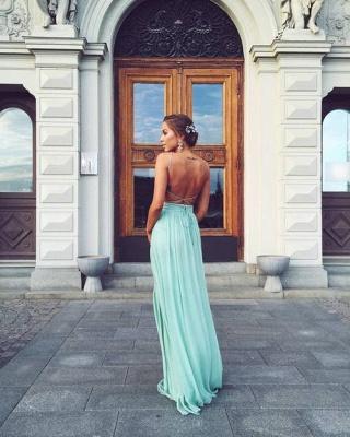 Forme A-line Longueur ras du sol Col en V Mousseline polyester fashion robe couleurs au choix_3
