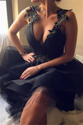 Robe de cocktail mini col en V sexy | Robe de soirée courte_1