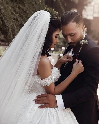 Robe de mariée princesse luxueuse épaules nues avec fleurs | Robe de mariage princesse longue élégante_2