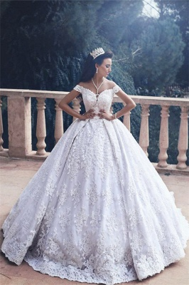 Forme Marquise Traîne moyenne Epaules nues Dentelle Robes de mariée robe de bal avec Dentelle_3