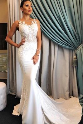 Robe de mariée sirène dentelle élégante | Robe de mariage trompette avec appliques_1