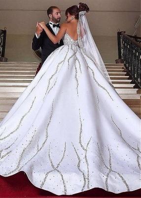 Forme Marquise Traîne moyenne Col en cœur Satin Robes de Mariée de Luxe Perle_2