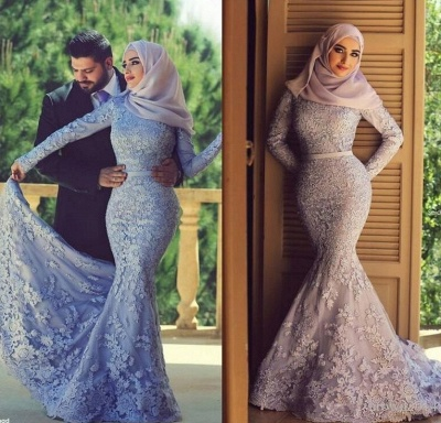 Forme Sirène Manches Longue Robe de mariée/soirée Pas Cher avec dentelle_2