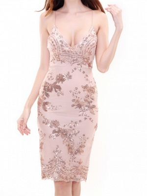 Forme fourreau robe de soirée bretelle fine courte avec pailleté_4