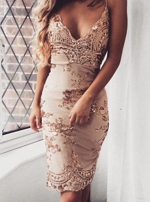Forme fourreau robe de soirée bretelle fine courte avec pailleté_2