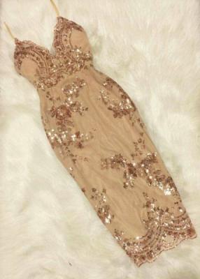 Forme fourreau robe de soirée bretelle fine courte avec pailleté_6
