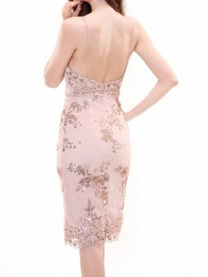 Forme fourreau robe de soirée bretelle fine courte avec pailleté_5