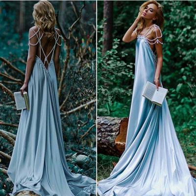 Forme A-line robe de soirée bretelle en perle longueur sol couleurs au choix_2