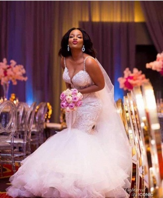 Robe de mariée A-ligne tulle épaules nues avec fleurs | Robe de mariage longue chic_1