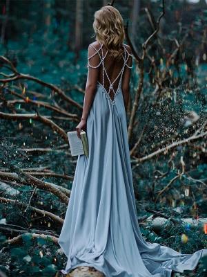 Forme A-line robe de soirée bretelle en perle longueur sol couleurs au choix_1