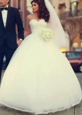 Forme Marquise Robes de mariée robe de bal avec Perle_2