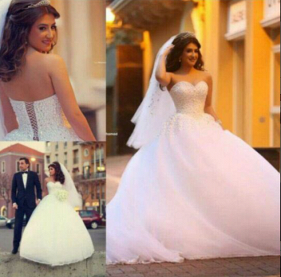 Forme Marquise Robes de mariée robe de bal avec Perle_1