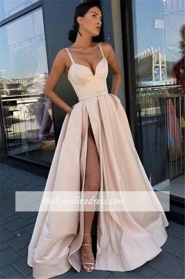 Robe de bal princesse bretelles fines | Robe de soirée princesse fendue devant_1