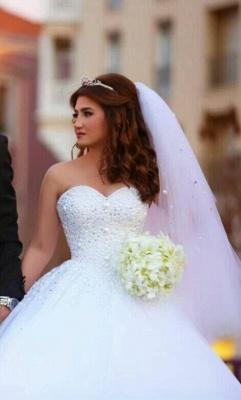 Forme Marquise Robes de mariée robe de bal avec Perle_6