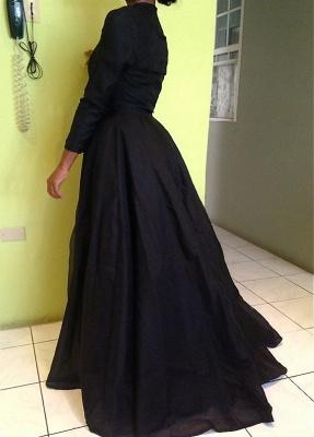 Forme Princesse Longueur ras du sol Col montant Mousseline polyester Robes de bal avec Dentelle_3