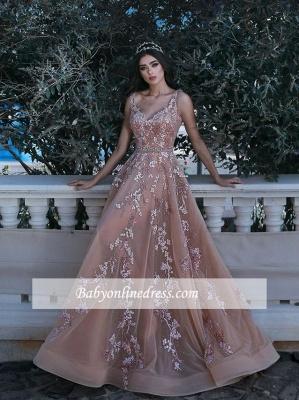 Forme Princesse Longueur ras du sol Bretelles spaghetti Tulle Robes de bal 2020 avec Appliques_4