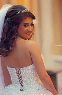 Forme Marquise Robes de mariée robe de bal avec Perle_5