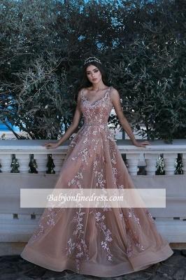 Forme Princesse Longueur ras du sol Bretelles spaghetti Tulle Robes de bal 2020 avec Appliques_1