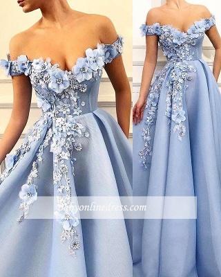 Robe de bal princesse chic avec fleurs | Robe de soirée princesse épaules nues_2