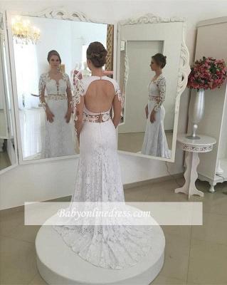 Forme Sirène/Trompette Traîne moyenne Dentelle Robes de mariée 2020 avec Appliques_1