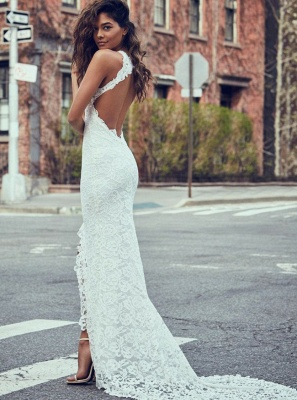 Robe de mariée sirène dentelle fendue devant dos nu | Robe de mariage trompette longue chic_2