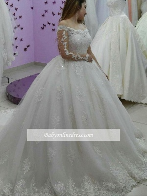 Forme Marquise Traîne Moyenne Epaules nues Tulle Ball Gown Robe de Soirée Dentelle_3