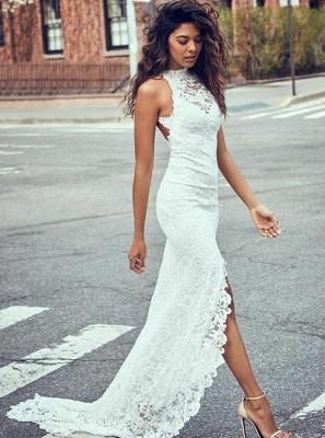 Robe de mariée sirène dentelle fendue devant dos nu | Robe de mariage trompette longue chic_1