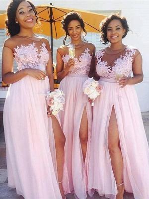 Forme Princesse Longueur ras du sol Mousseline polyester Robes de demoiselles d'honneur 2021 avec Dentelle_1