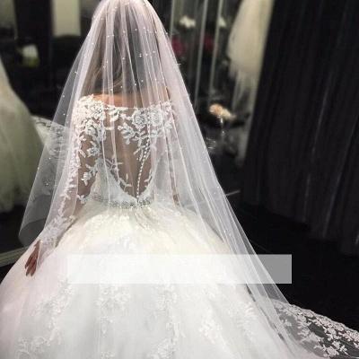 Forme Marquise Traîne mi-longue Col U profond Tulle Robes de mariée 2020 avec Appliques_2