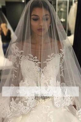 Forme Marquise Traîne mi-longue Col U profond Tulle Robes de mariée 2020 avec Appliques_4