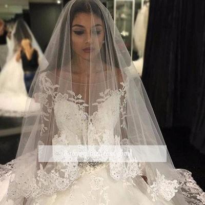 Forme Marquise Traîne mi-longue Col U profond Tulle Robes de mariée 2020 avec Appliques_3