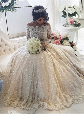 Forme princesse robe de mariée en dentelle délicat avec perle et broderie exquis traîne cathédrale_1