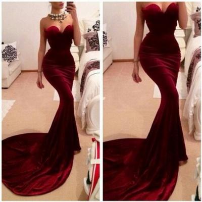 Forme Sirène/Trompette Traîne moyenne Col en cœur robe de soirée pas cher_2